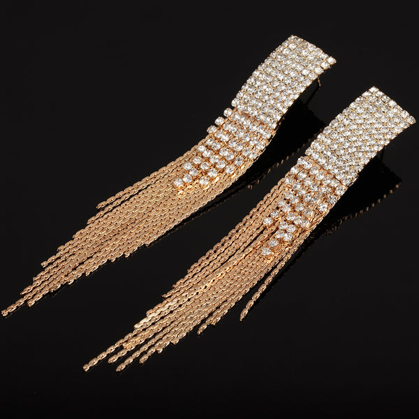 Crystal Long Tassel Party wear Earrings - 2 Styles - [neshe.in]