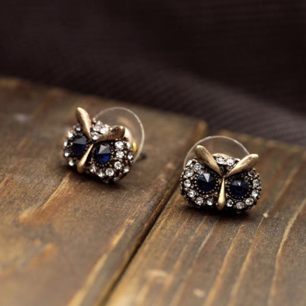 Trendy Metal Crystal Owl Head Stud Earrings - [neshe.in]