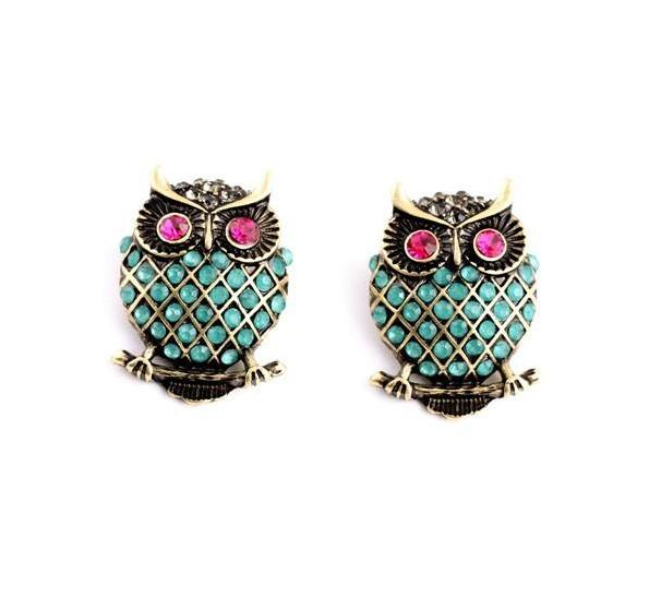 Vintage Gemstone Owl Stud Earrings - [neshe.in]