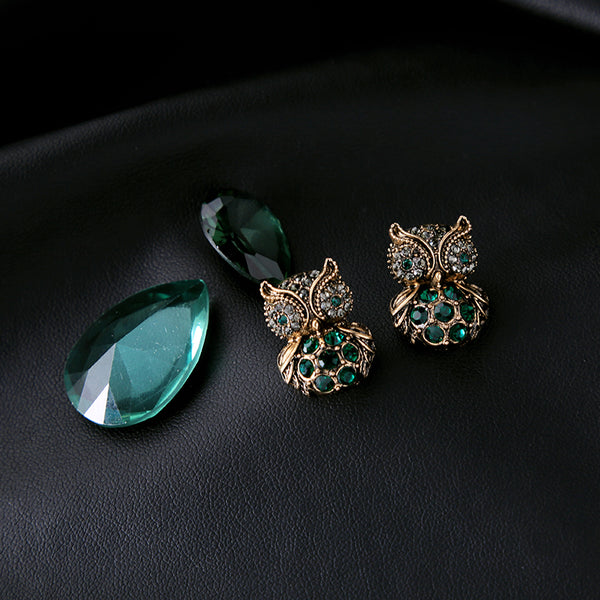 Antique Gold Green Crystal Owl Stud Earrings - [neshe.in]