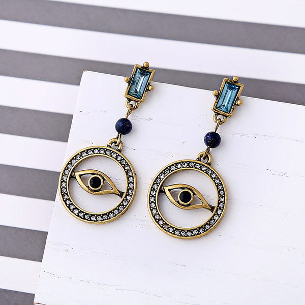 Alloy Rhinestone Eye Round Vintage Drop Earrings - [neshe.in]