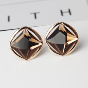 Big Geometric Square Crystal Stud Earrings - 4 Colors - [neshe.in]