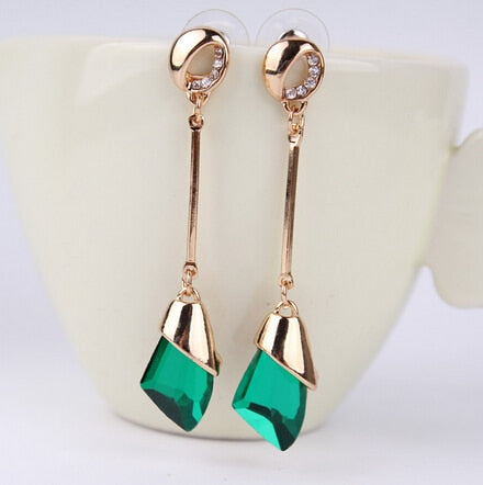 Golden Colorful Crystal Drop Earring - 5 Colors - [neshe.in]