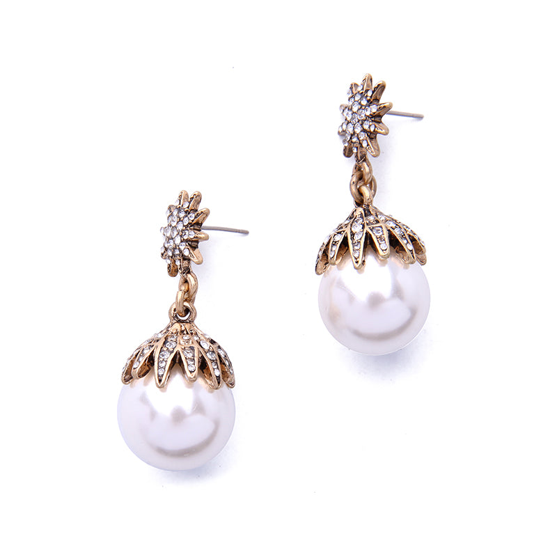 Simulated Pearl Ball Dangle Earring High End Wedding Jewelry - [neshe.in]