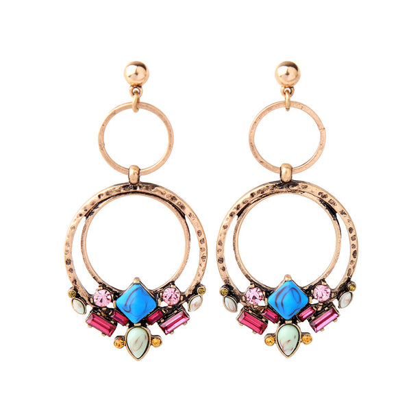 Antique Gold Tone Blue Stone Flower Piercing Earring - [neshe.in]