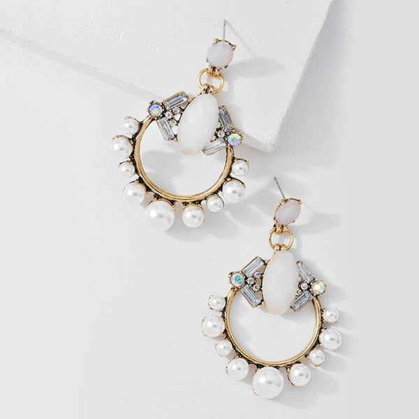 Pearl Dangle Earring Statement Earring - [neshe.in]