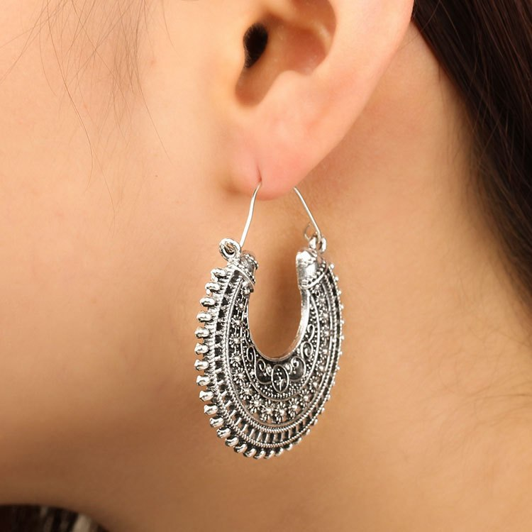 Bohemian Ethnic Retro Carved Moon Drop Earrings - 2 Colors - [neshe.in]