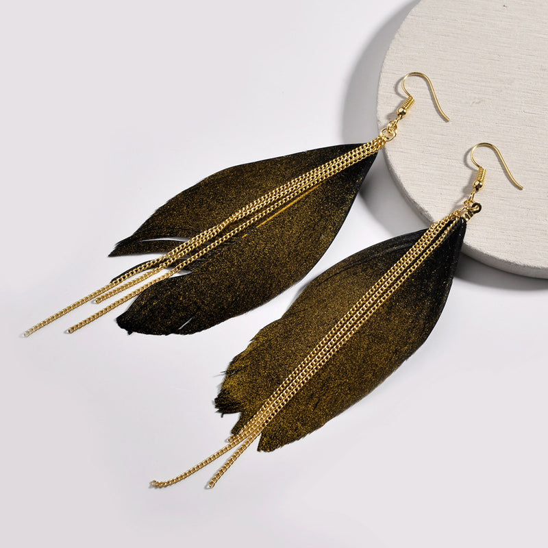 Feather water drop golden textured Earring - [neshe.in]