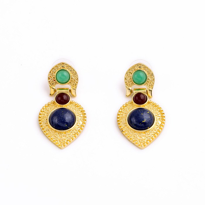 Luxurious Gold Color Gem Pan Shape Statement Earring - [neshe.in]