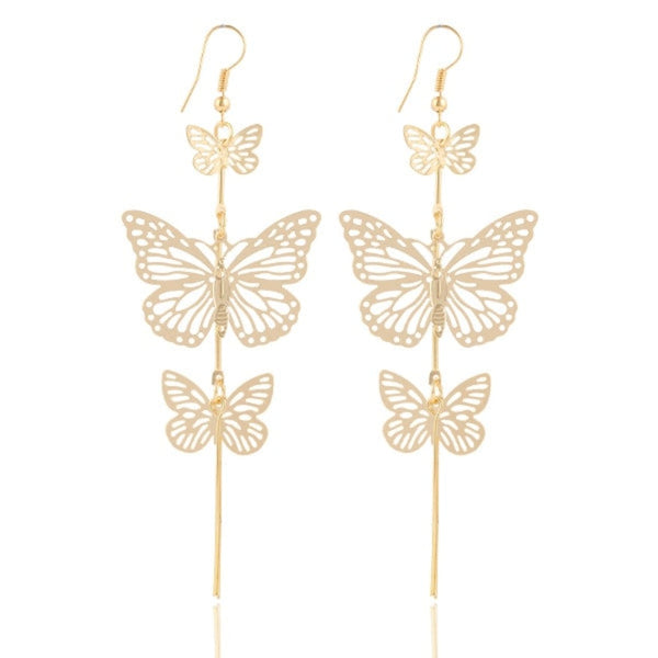 Butterfly drop Hollow flower Long tassels earring - [neshe.in]