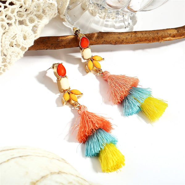 Colorful Resin Stone Dangle Tassel Fringe Earring - [neshe.in]