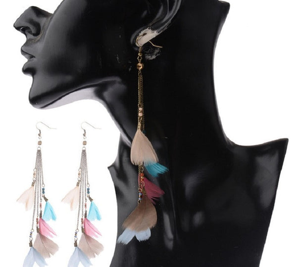 Bohemian Feather Long Party Earrings - 2 Colors - [neshe.in]
