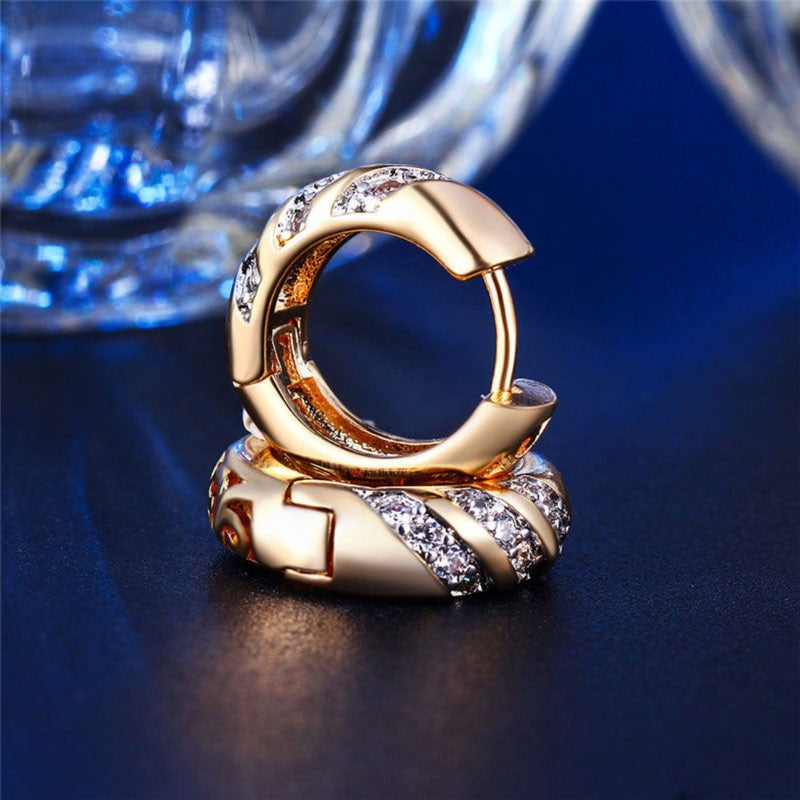 Gold & Silver Crystal Small Huggie Hoop Earrings - 4 Colors - [neshe.in]