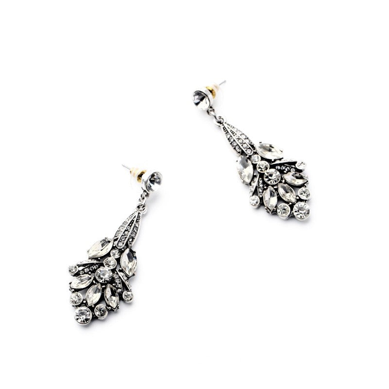 Clear Stone Trendy  Statement Earrings - [neshe.in]