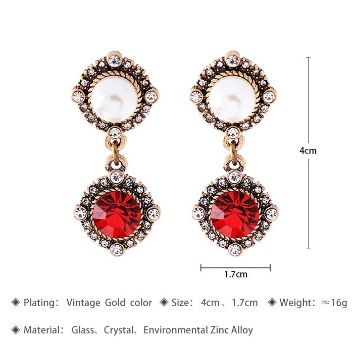 Red Crystal Imitation Pearl Dangle Exquisite Drop Earrings - [neshe.in]