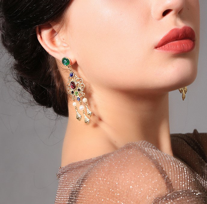 Ethnic Green Stone Stud Crystal Drop Earring - [neshe.in]