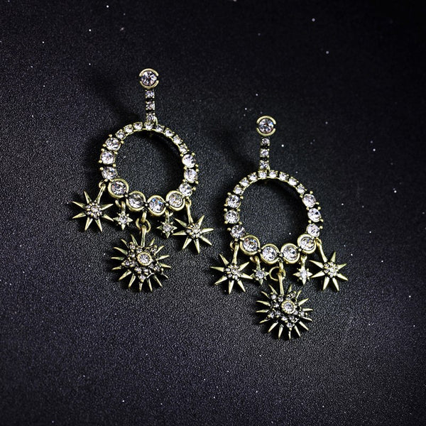 Antique Gold Rhinestone Star Round Drop Statement Earring - [neshe.in]