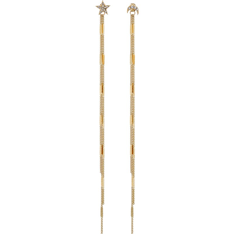 Asymmetric Rhinestone Moon Star Tassel Long Earring - [neshe.in]