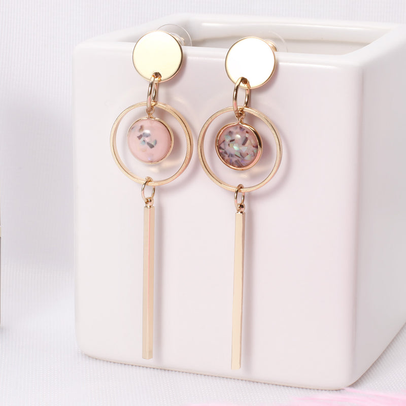 Gold Color Simulated-pearl Lucite Earring -2 colors - [neshe.in]