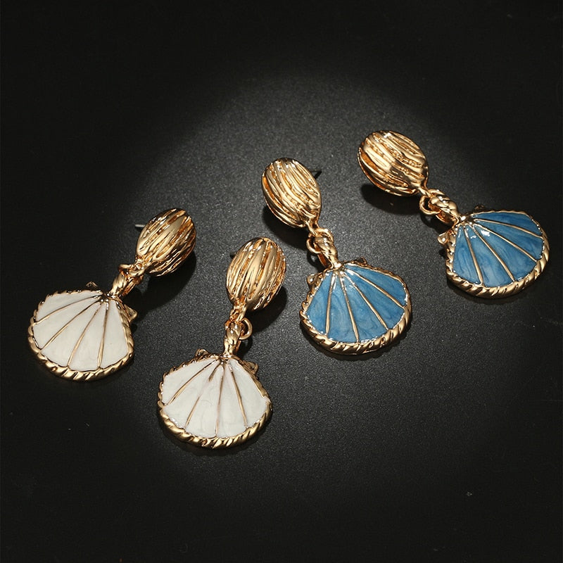 Vintage Colorful Shell Drop Earrings - 2 Colors - [neshe.in]