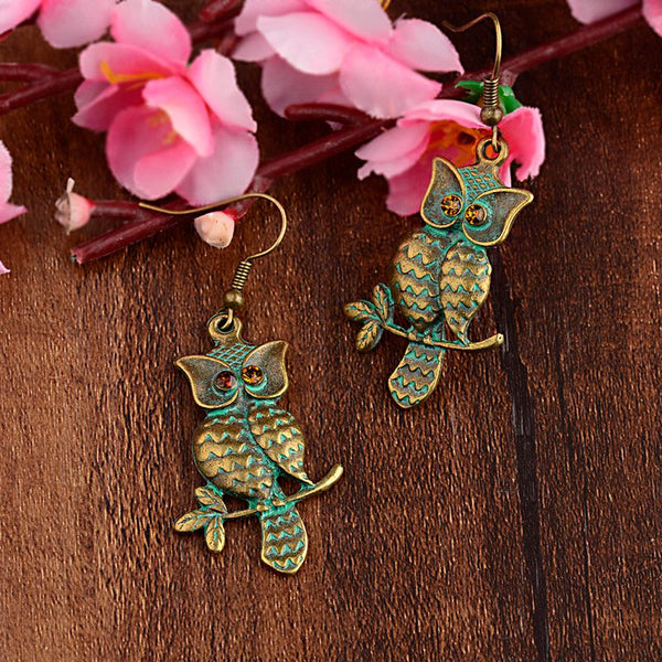 Antique Owl Drop Earrings - 2 Colors - [neshe.in]