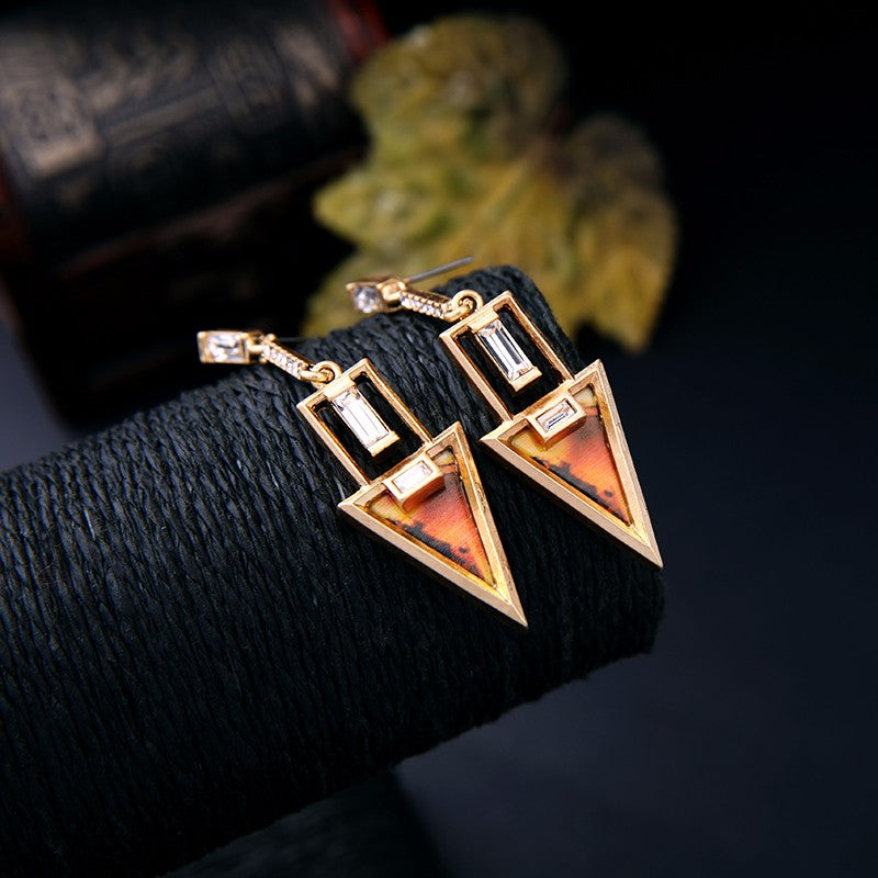 Alloy Vintage Geometric Triangle Dangle Earrings - [neshe.in]