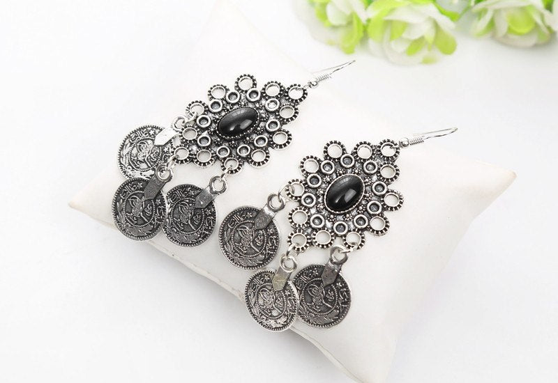 Ethnic Tibetan Long Coin Tassels Drop Earrings - [neshe.in]