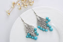 Fashion Retro Tibetan Silver Rhombus Dangle Earrings - [neshe.in]