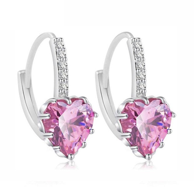 Heart Shape CZ Crystal Stud Drop Earrings- 9 Colors - [neshe.in]