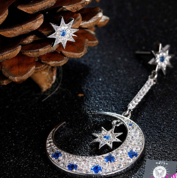 Asymetrical  Elegant Star Drop Earrings With Moon Shape Long Earings - [neshe.in]