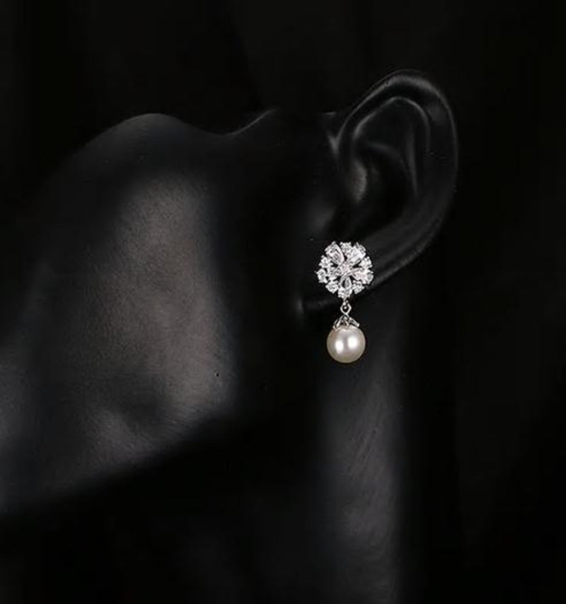 Pearl Drop CZ Crystal Drop Earrings - [neshe.in]