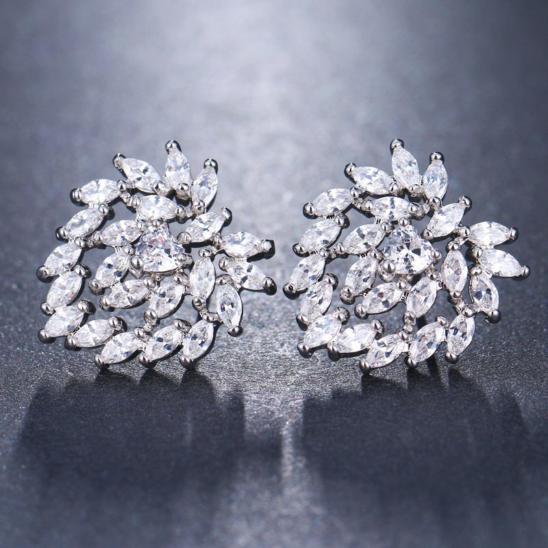 Pear Shape Hollow CZ Crystal Stud Earrings - 3 Colors - [neshe.in]