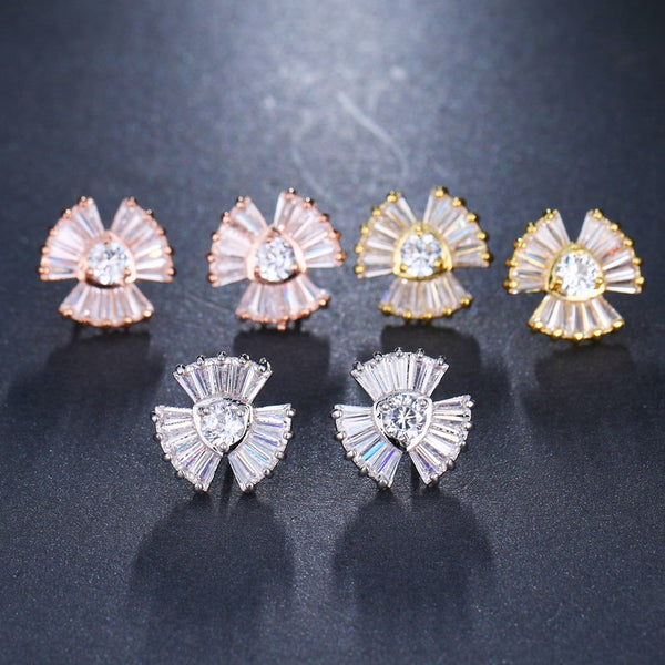 CZ Crystal Fan Shape Small Stud Earrings - 3 Colors - [neshe.in]