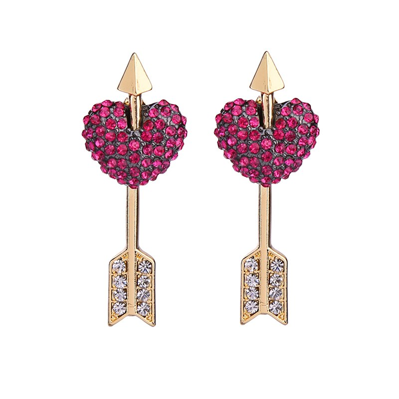 Hot Pink Crystal Pave Heart Arrow 2-in-1 Convertible Earring - [neshe.in]