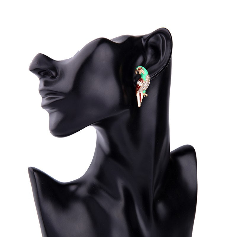 Cute Enamel Parrot Stylish Stud Earrings - [neshe.in]
