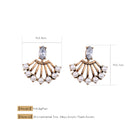 Crystal Pearl Fan Shape Jacket 2 in 1 Convertible Earrings - [neshe.in]