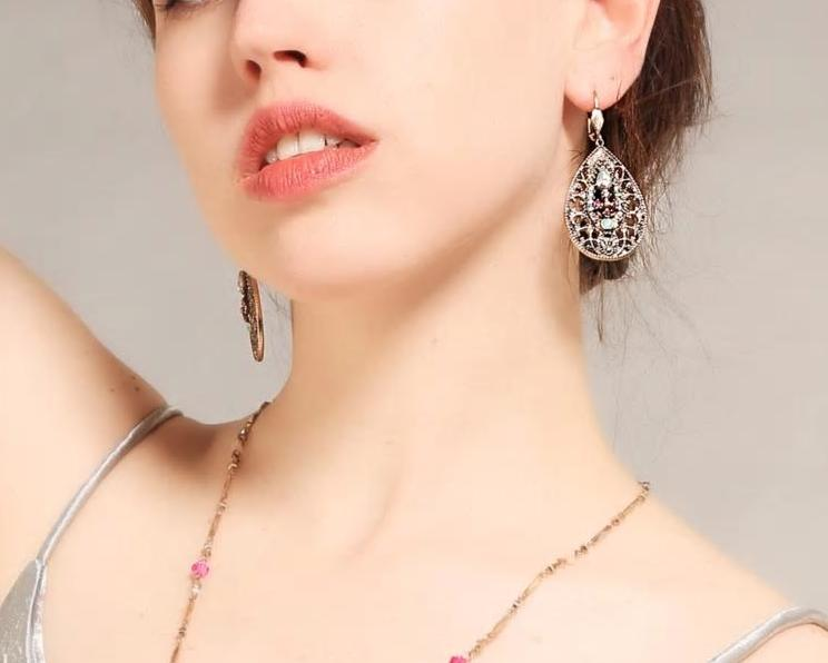 Vintage Pink Clear Crystal Drop Earring Romantic Earring - [neshe.in]