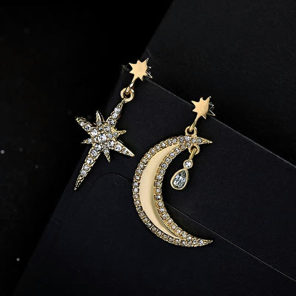 Golden Moon Star Trendy Dangle Earrings - [neshe.in]