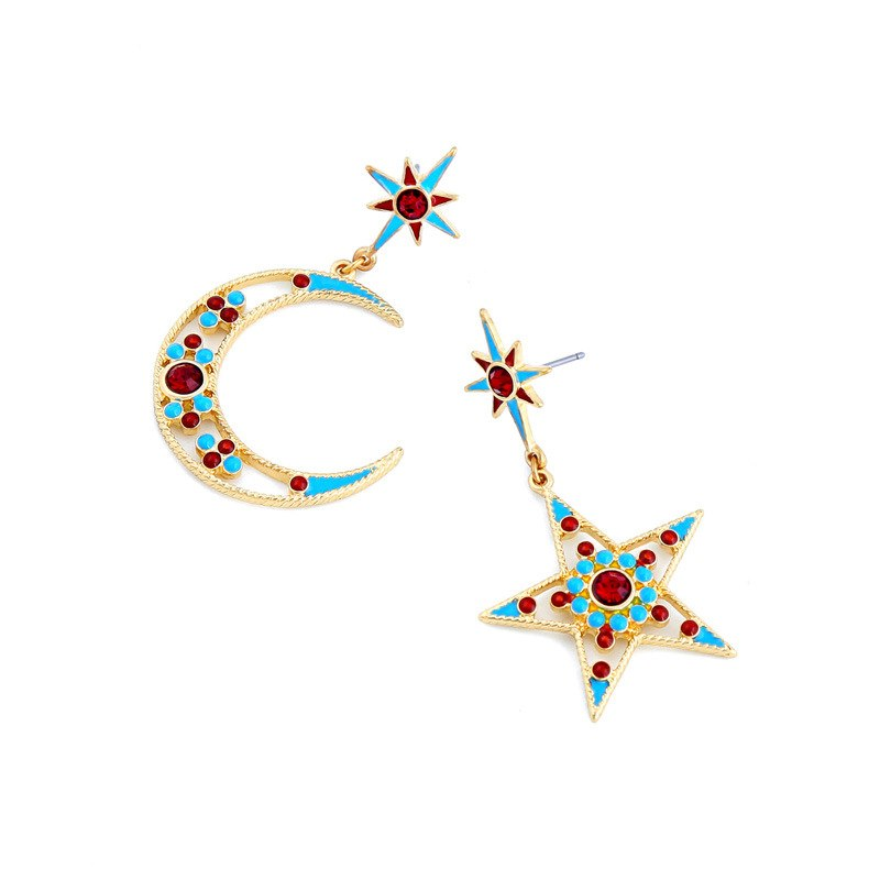 Colorful  Gold Color Moon Star Dangle Earring Medium Earring Simple Trendy Earring - [neshe.in]
