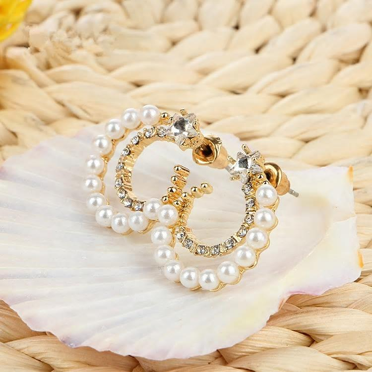 Vintage Moon Pearl Stud Star Crystal Earrings - 2 Colors - [neshe.in]
