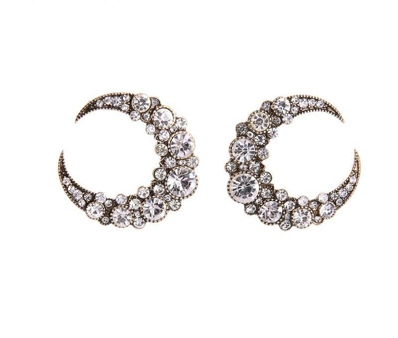 Crystal Crescent Moon Stud Earring -2 Colors - [neshe.in]