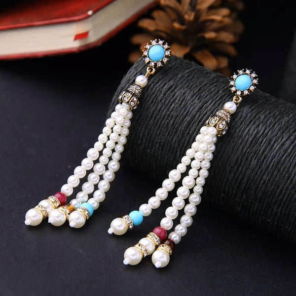 Simulated Pearls  Long Beads Chain Drop Earrings - [neshe.in]