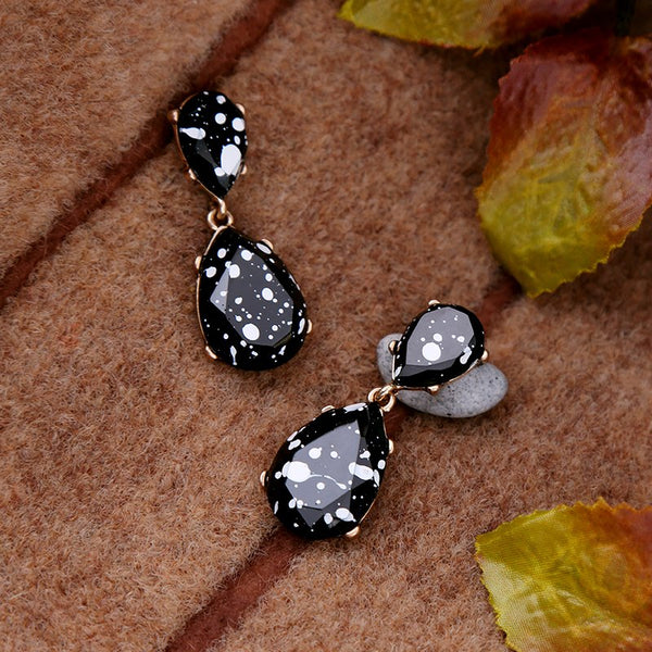 Antique Gold Color Resin Black Water Drops Earrings - [neshe.in]