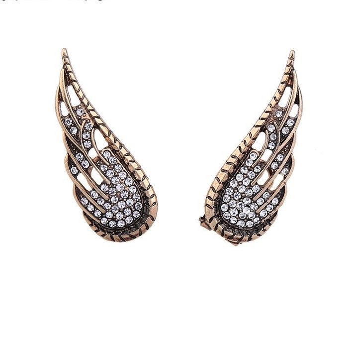 Antique Gold Color Crystal Wings Stud Earrings - [neshe.in]