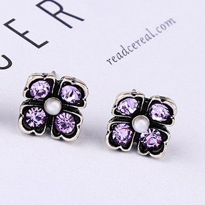 Purple Crystal Flower Stud Earrings - [neshe.in]