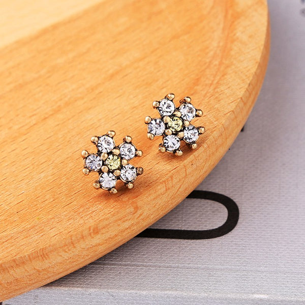Antique Gold Small Flower Shape Stud - [neshe.in]