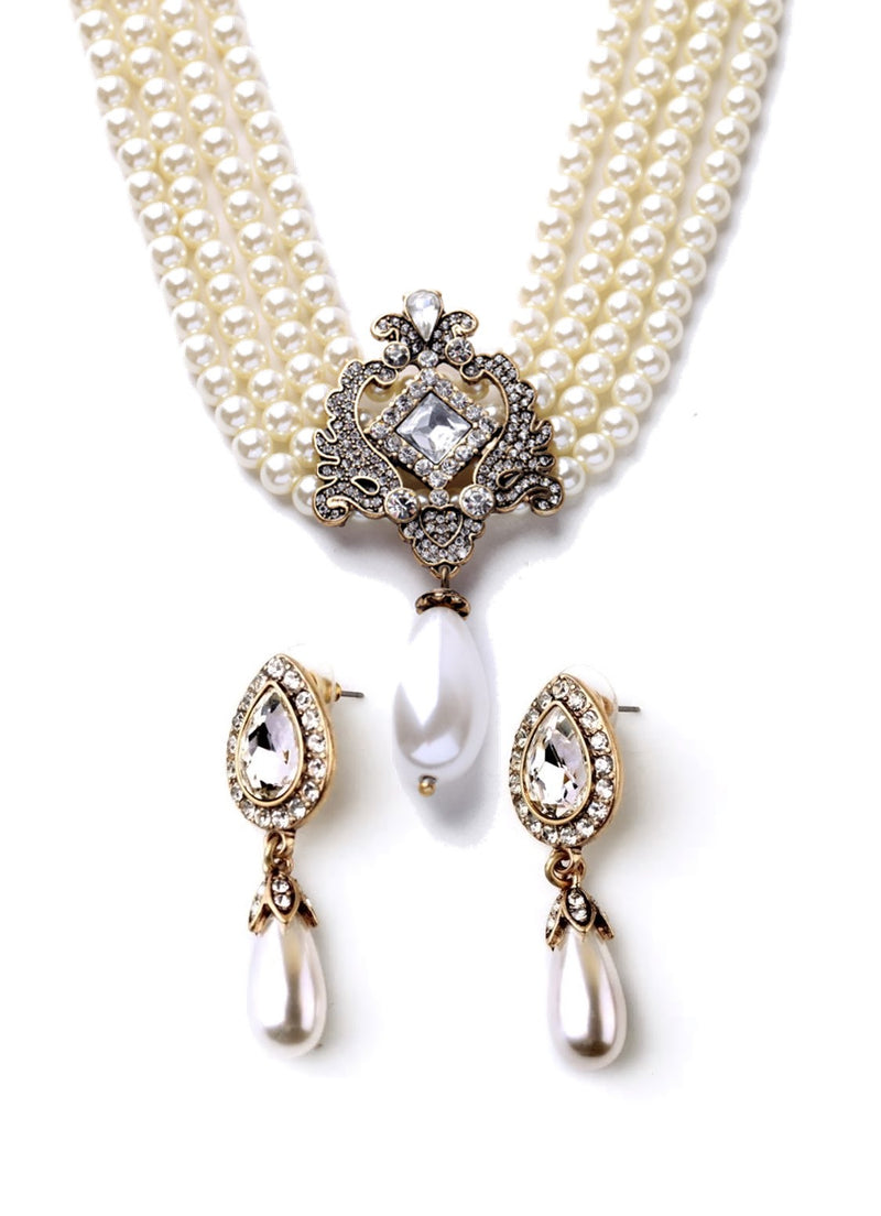 Crystal Flower Pearl Layers Collar Statement Necklace & Earring Set - [neshe.in]