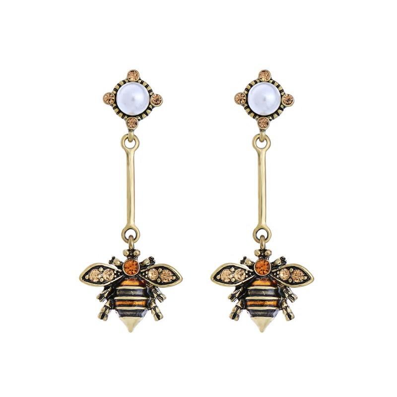 Enamel Bee Dangle Golden Alloy Vintage Earrings - [neshe.in]