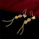Golden Long Round Butterfly Dangle Earrings - [neshe.in]