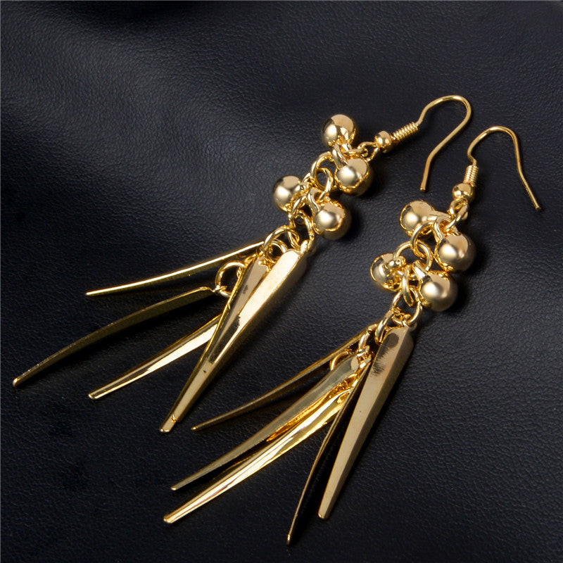 Golden Balls & Leaves Drop Dangle Earrings - [neshe.in]